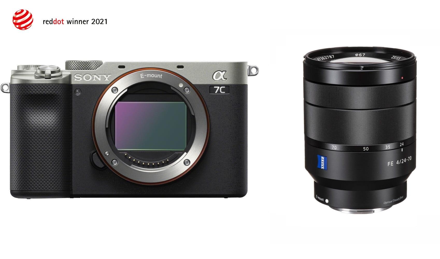 Aparat cyfrowy Sony A7C srebrny ILCE7C + obiektyw Sony Zeiss Vario-Tessar® T* FE 24-70 mm F4 ZA OSS - SEL2470Z + cashback 900 i 650 zł
