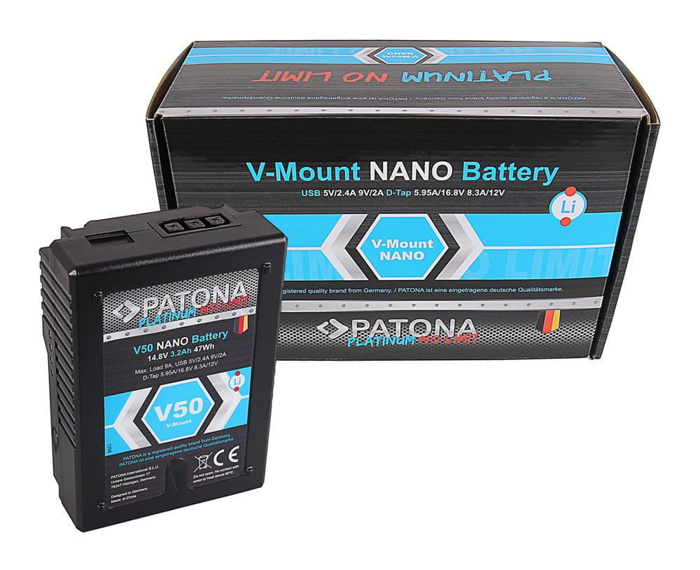 Akumulator PATONA Platinum NANO V50 RED ARRI V- Mount, 3200mAh, 47Wh, 14.8V, USB 5V/2.4A 9V/2A D-Tap