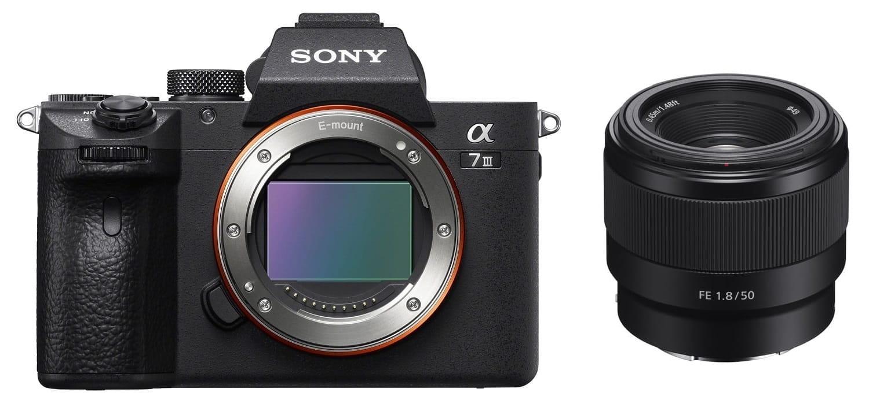 Aparat cyfrowy Sony A7 III - ILCE7M3B + obiektyw Sony FE 50 mm f/1.8 - SEL50F18F + cashback 900 zł